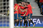 Spain's Dani Ceballos, Rodrigo Moreno, Dani Carvajal, Marco Asensio, Nacho Fernandez and Saul Niguez celebrate goal during UEFA Nations League 2019 Final Tournament match. September 11,2018.(ALTERPHOTOS/Acero)