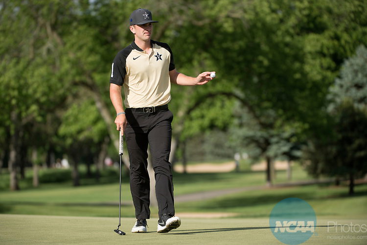 SUGAR GROVE, IL - MAY 29: Will Gordon of Vanderbilt University sinks a putt during the Division I Men's Golf Individual Championship held at Rich Harvest Farms on May 29, 2017 in Sugar Grove, Illinois. (Photo by Jamie Schwaberow/NCAA Photos via Getty Images)