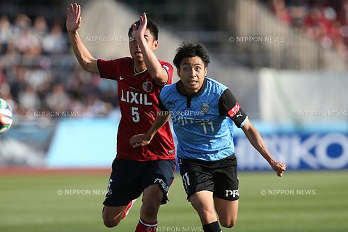 (L to R) <br /> Takeshi Aoki (Antlers), <br /> Yu Kobayashi (Frontale), <br /> MAY 10, 2014 - Football /Soccer : <br /> 2014 J.LEAGUE Division 1 <br /> between Kawasaki Frontale 4-1 Kashima Antlers <br /> at Kawasaki Todoroki Stadium, Kanagawa, Japan. <br /> (Photo by AFLO SPORT) [1205]