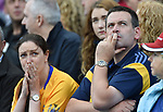 Worried looking Clare fans during their All-Ireland semi-final against Galway at Croke Park. Photograph by John Kelly.