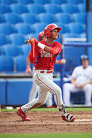 GCL Phillies second baseman Daniel Brito (21) at bat during the first game of a doubleheader against the GCL Blue Jays on August 15, 2016 at Florida Auto Exchange Stadium in Dunedin, Florida.  GCL Phillies defeated the GCL Blue Jays 7-5 in a completion of a game started on July 30th.  (Mike Janes/Four Seam Images)