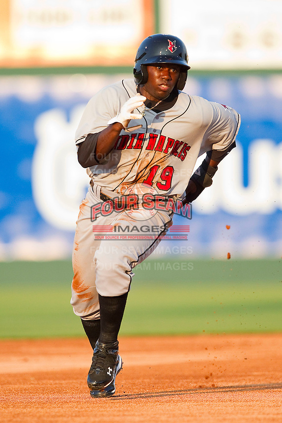 Josh Harrison #19 of the Indianapolis Indians hustles towards third base against the Charlotte Knights at Knights Stadium on July 26, 2011 in Fort Mill, South Carolina.  The Knights defeated the Indians 5-4.   (Brian Westerholt / Four Seam Images)