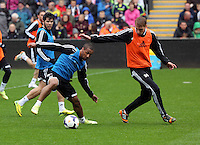 Wednesday, 23 April 2014<br /> Pictured L-R: Wayne Routledge and Jay Fulton<br /> Re: Swansea City FC are holding an open training session for their supporters at the Liberty Stadium, south Wales,