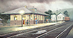 "Alexandria PA train station with people on the platform waiting after the rain for the next Pennsylvania Railroad passenger train, circa 1920. Oil on canvas, 15"" x 20""."