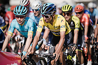 Egan Bernal (COL/SKY) in yellow at the start of the final day of Paris-Nice<br /> <br /> Stage 8: Nice to Nice (110km)<br /> 77th Paris - Nice 2019 (2.UWT)<br /> <br /> ©kramon