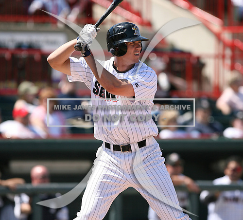 2007:  Brent Dlugach of the Erie Seawolves awaits the pitch during an at bat vs. the Bowie Baysox in Eastern League baseball action.  Photo copyright Mike Janes Photography 2007.
