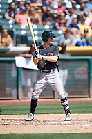 Drew Ferguson (8) of the Fresno Grizzlies bats against the Salt Lake Bees at Smith's Ballpark on September 3, 2018 in Salt Lake City, Utah. The Grizzlies defeated the Bees 7-6. (Stephen Smith/Four Seam Images)
