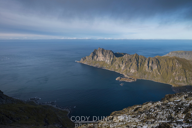 View towards Skolmen from summit of Østhimmeltind, Vestvågøy, Lofoten Islands, Norway
