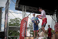 Kenneth Vanbilsen (BEL/Cofidis) wins Dwars door het Hageland 2019 (1.1) & receives a champagne shower by runner-up Niki Terpstra (NED/Total - Direct Energie)<br /> <br /> 1 day race from Aarschot to Diest (BEL/204km)<br /> <br /> ©kramon