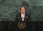 72 General Debate &ndash; 23rd of September  2017<br /> <br /> H.E. RI Yong Ho<br /> Minister for Foreign Affairs of the<br /> DEMOCRATIC PEOPLE'S REPUBLIC OF<br /> KOREA