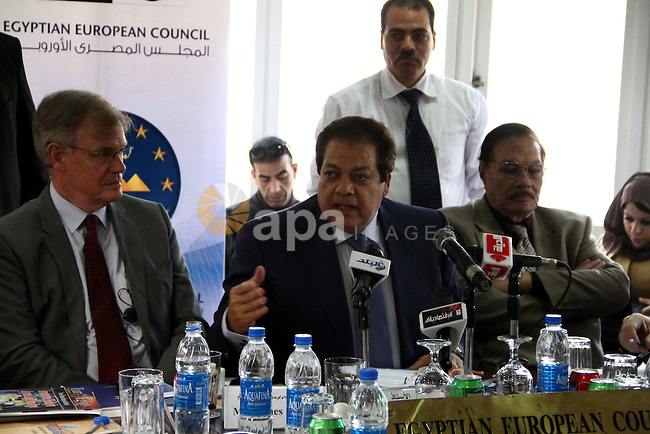 Egyptian and European members of  Economic Cooperation Council attend a meeting to discus the opportunities for cooperation between Egypt and the European Union in economic fields, in Cairo on February 26, 2013. Photo by Tarek al-Gabas