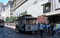 San Francisco:  the cable car turnabout, Powell at Market.  Photo '89.