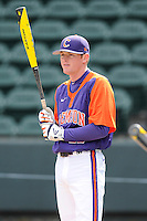 Infielder Adam Renwick (11) of the Clemson Tigers prior to the Reedy River Rivalry game against the South Carolina Gamecocks on Saturday, February 28, 2015, at Fluor Field at the West End in Greenville, South Carolina. South Carolina won, 4-1. (Tom Priddy/Four Seam Images)