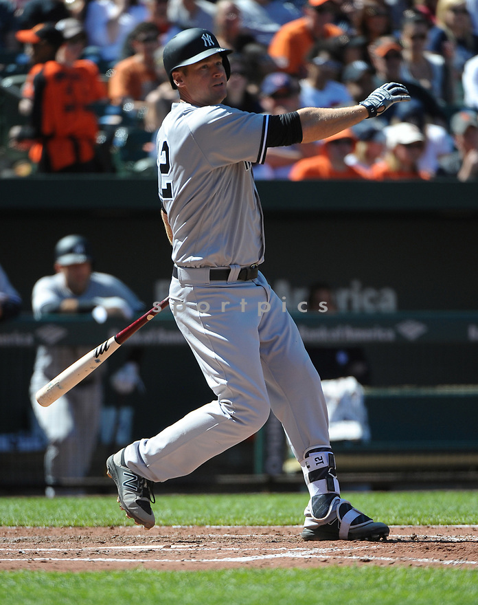 BALTIMORE, MD - April 9, 2017: Chase Headley #12 of the New York Yankees during a game against the Baltimore Orioles on April 9 2017 at Camden Yards in Baltimore, MD. The Yankees beat the Orioles 7-3.-(Chris Bernacchi/SportPics)