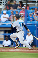 Tampa Tarpons catcher Kellin Deglan (25) at bat during a game against the Dunedin Blue Jays on June 2, 2018 at Dunedin Stadium in Dunedin, Florida.  Dunedin defeated Tampa 4-0.  (Mike Janes/Four Seam Images)
