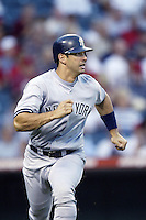 Jorge Posada of the New York Yankees runs the bases during a 2002 MLB season game against the Los Angeles Angels at Angel Stadium, in Anaheim, California. (Larry Goren/Four Seam Images)