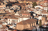 Traditional houses of El Albayzin, the medieval Moorish old town of Granada, seen from the Alhambra Palace, Granada, Andalusia, Southern Spain. From the 8th to the 15th centuries, Granada was under muslim rule and retains a distinctive Moorish heritage. Granada was listed as a UNESCO World Heritage Site in 1984. Picture by Manuel Cohen