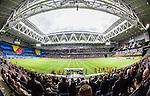 Stockholm 2015-05-25 Fotboll Allsvenskan Djurg&aring;rdens IF - AIK :  <br /> Vy &auml;ven Tele2 Arena n&auml;r Djurg&aring;rdens och AIK:s supportrar har ett tifo inf&ouml;r matchen mellan Djurg&aring;rdens IF och AIK <br /> (Foto: Kenta J&ouml;nsson) Nyckelord:  Fotboll Allsvenskan Djurg&aring;rden DIF Tele2 Arena AIK Gnaget supporter fans publik supporters inomhus interi&ouml;r interior tifo