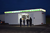 Mobile burger bar at night, Portsmouth UK