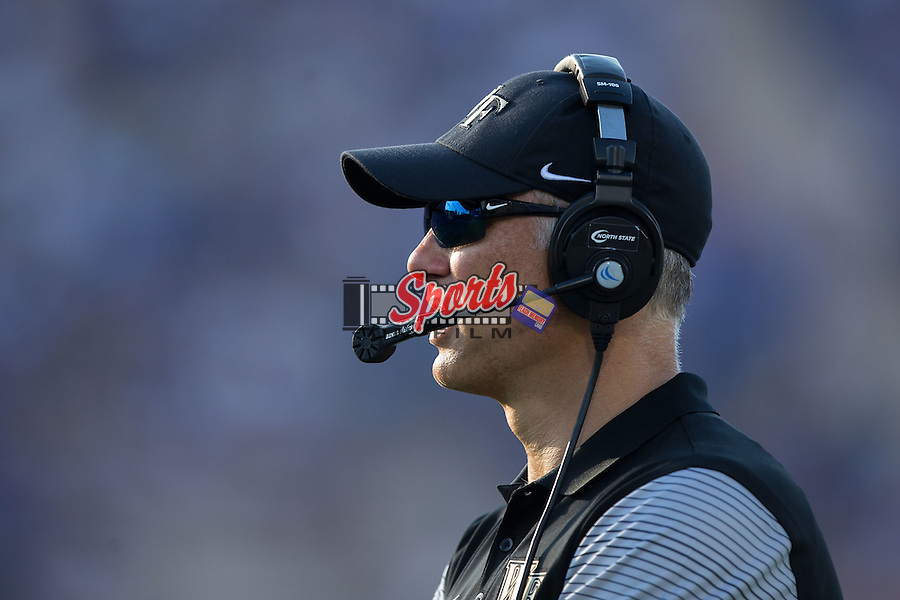 Wake Forest Demon Deacons head coach Dave Clawson watches the action from the sidelines during second half action against the Duke Blue Devils at Wallace Wade Stadium on September 10, 2016 in Raleigh, North Carolina.  The Demon Deacons defeated the Blue Devils 24-14.  (Brian Westerholt/Sports On Film)