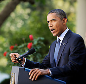 United States President Barack Obama delivers a statement to the press on the economy in the Rose Garden of the White House in Washington D.C., Wednesday, September 15 2010..Credit: Olivier Douliery / Pool via CNP