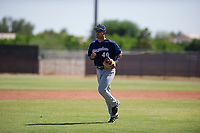 Milwaukee Brewers third baseman Dallas Carroll (40) jogs off the field between innings during an Instructional League game against the San Diego Padres on September 27, 2017 at Peoria Sports Complex in Peoria, Arizona. (Zachary Lucy/Four Seam Images)