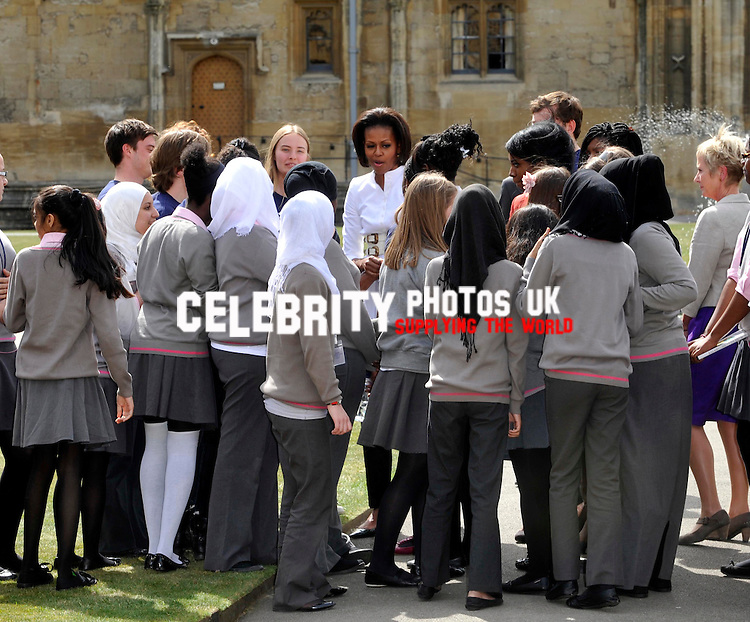 First Lady of the United States, Michelle Obama speeking  and doing and answers student's questions from the Elizabeth Garrett Anderson School in North London   at the University of Oxford on May 25, 2011 Oxford, England.
