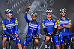 Julian Alaphilippe (FRA) and Deceuninck-Quick Step on stage at the team presentation before Stage 1 of the Criterium du Dauphine 2019, running 142km from Aurillac to Jussac, France. 9th June 2019<br /> Picture: ASO/Alex Broadway | Cyclefile<br /> All photos usage must carry mandatory copyright credit (© Cyclefile | ASO/Alex Broadway)