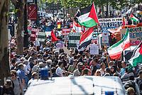"""Etwa 400-500 Menschen demonstrierten am Samstag den 1. Juni 2019 in Berlin mit dem sog. """"Al Quds-Marsch"""" gegen Israel. Alljaehrlich marschieren radikale Islamisten, Anhaenger der Hisbollah und der Diktatur im Iran zum Ende des islamischen Fastenmonats Ramadan durch Berlin und rufen zum Kampf gegen Israel auf. Sie wollen """"die Juden"""" aus Jerusalem (Quds) vetreiben und wollen Israel vernichten. Der """"Quds-Tag"""" wurde 1979 vom iranischen Revolutionsfuehrer Ayatollah Khomeini als politischer Kampftag etabliert, an dem weltweit fuer die Vernichtung Israels geworben wird.<br /> Dagegen protestierten fast 1.000 Menschen. Sie demonstrieren für Solidaritaet mit Israel und protestieren gegen jede Form von antisemitischer und islamistischer Propaganda in Berlin und forderten ein Verbot des Aufmarsches.<br /> 1.6.2019, Berlin<br /> Copyright: Christian-Ditsch.de<br /> [Inhaltsveraendernde Manipulation des Fotos nur nach ausdruecklicher Genehmigung des Fotografen. Vereinbarungen ueber Abtretung von Persoenlichkeitsrechten/Model Release der abgebildeten Person/Personen liegen nicht vor. NO MODEL RELEASE! Nur fuer Redaktionelle Zwecke. Don't publish without copyright Christian-Ditsch.de, Veroeffentlichung nur mit Fotografennennung, sowie gegen Honorar, MwSt. und Beleg. Konto: I N G - D i B a, IBAN DE58500105175400192269, BIC INGDDEFFXXX, Kontakt: post@christian-ditsch.de<br /> Bei der Bearbeitung der Dateiinformationen darf die Urheberkennzeichnung in den EXIF- und  IPTC-Daten nicht entfernt werden, diese sind in digitalen Medien nach §95c UrhG rechtlich geschuetzt. Der Urhebervermerk wird gemaess §13 UrhG verlangt.]"""