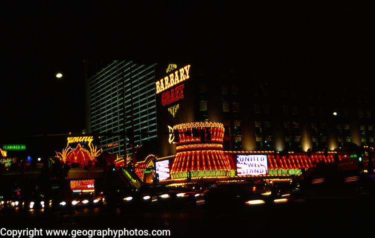 Barbary Coast casino at night, The Strip, Las Vegas, Nevada, USA