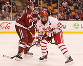 John Marino (Harvard - 12), Jakob Forsbacka Karlsson (BU - 23) - The Harvard University Crimson defeated the Boston University Terriers 6-3 (EN) to win the 2017 Beanpot on Monday, February 13, 2017, at TD Garden in Boston, Massachusetts.
