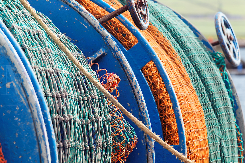 Fishing nets on back of fishing boat, Dingle Harbour, Dingle (An Daingean), Dingle Peninsula, County Kerry, Republic of Ireland