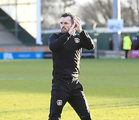 Luton Town manager Nathan Jones applauds the travelling fans during the Sky Bet League 2 match between Yeovil Town and Luton Town at Huish Park, Yeovil, England on 4 March 2017. Photo by Liam Smith / PRiME Media Images.
