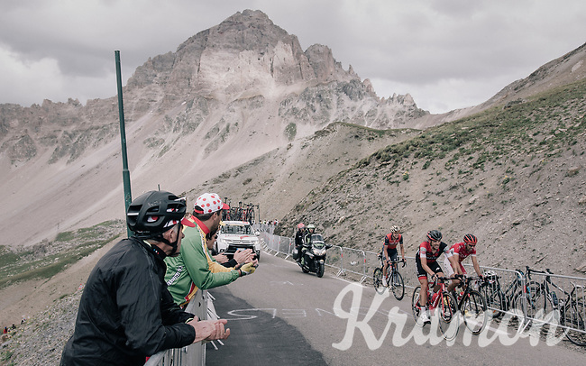 fans cheering the riders on up the highest point in the 2017 TdF: The Galibier (HC/2642m/17.7km/6.9%)<br /> <br /> 104th Tour de France 2017<br /> Stage 17 - La Mure › Serre-Chevalier (183km)