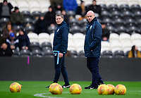 Sheffield Wednesday's coach Steve Agnew, right, during the pre-match warm-up<br /> <br /> Photographer Chris Vaughan/CameraSport<br /> <br /> The EFL Sky Bet Championship - Hull City v Sheffield Wednesday - Saturday 12th January 2019 - KCOM Stadium - Hull<br /> <br /> World Copyright © 2019 CameraSport. All rights reserved. 43 Linden Ave. Countesthorpe. Leicester. England. LE8 5PG - Tel: +44 (0) 116 277 4147 - admin@camerasport.com - www.camerasport.com