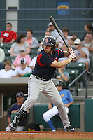 Drew Hedman #20 of the Salem Red Sox at bat during a game against the Myrtle Beach Pelicans on May 14, 2010 at BB&T Coastal Field in Myrtle Beach, SC.