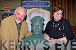 Artist Alan Ryan Hall shows his sculpture of Monsignor Hugh O'Flaherty to his niece Pearl Dineen that will be erected in Killarney town in the Plaza Hotel on Saturday night.