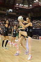 JOHANNESBURG, SOUTH AFRICA - JANUARY 25:  Bailey Mes of the Silver Ferns (r) and Karla Pretorius of the SPAR Proteas in action during the Netball Quad Series netball match between Spar Proteas and Silver Ferns at the Ellis Park Arena in Johannesburg. Mandatory Photo Credit: ©Reg Caldecott/Michael Bradley Photography