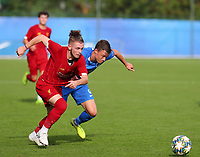 20191023 - Genk: Liverpool's Harvey Elliott (on the left) and Genk's Siebe Vandermeulen (right) are pictured battling for the ball during the UEFA Youth League group stages match between KRC Genk Youth and Liverpool FC on October 23, 2019 at KRC Genk Stadium Arena B, Genk, Belgium. PHOTO:  SPORTPIX.BE   SEVIL OKTEM