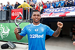 Alfredo Morelos with his man of the match award