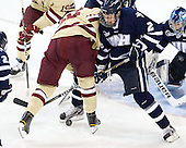 Kevin Hayes (BC - 12), Connor Hardowa (UNH - 2) - The Boston College Eagles defeated the visiting University of New Hampshire Wildcats 4-3 on Friday, January 27, 2012, in the first game of a back-to-back home and home at Kelley Rink/Conte Forum in Chestnut Hill, Massachusetts.