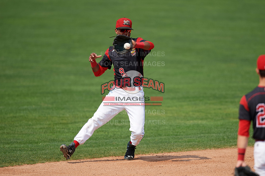 Batavia Muckdogs shortstop Marcos Rivera (8) fields a ball during the first game of a doubleheader against the Mahoning Valley Scrappers on September 4, 2017 at Dwyer Stadium in Batavia, New York.  Mahoning Valley defeated Batavia 4-3.  (Mike Janes/Four Seam Images)