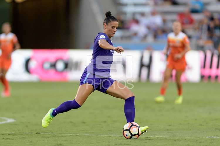 Houston, TX - Saturday June 17, 2017: Ali Krieger takes a shot at the Houston goal during a regular season National Women's Soccer League (NWSL) match between the Houston Dash and the Orlando Pride at BBVA Compass Stadium.