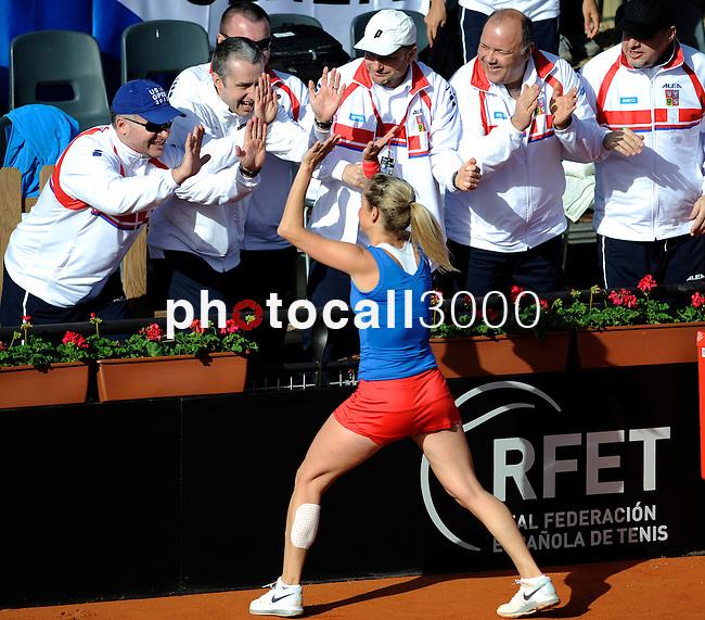 Czech Republic's Klara Zakopalova (L) shake hands with her technical team after their 2014 International Tennis Federation Fed Cup World Group first-round tie at the Blas Infante tennis centre in Sevilla on February 10, 2014. Zakopalova won 6-3,2-6,6-1. <br /> PHOTOCALL3000 / GL