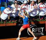 Czech Republic's Klara Zakopalova (L) shake hands with her technical team after their 2014 International Tennis Federation Fed Cup World Group first-round tie at the Blas Infante tennis centre in Sevilla on February 10, 2014. Zakopalova won 6-3,2-6,6-1. <br /> PHOTOCALL3000 / GL