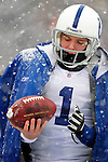 3 January 2010: Indianapolis Colts' punter Pat McAfee keeps warms on the sidelines during a game against the Buffalo Bills on a cold, snowy, final game of the season at Ralph Wilson Stadium in Orchard Park, New York. The Bills defeated the Colts 30-7. Mandatory Credit: Ed Wolfstein Photo
