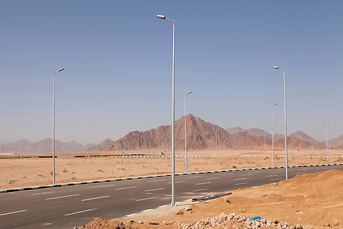 """Sharm el Sheikh, Feb 2015. The roads have just been renovated in the perspective of the coming international investment conference """"Egypt the future!. The city has deployed huge efforts in order to impress foreign governments and private companies who will be soon fill the hotels of Sharm el Sheikh"""