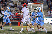 College Park, MD - April 27, 2019: Maryland Terrapins attack Jared Bernhardt (1) scores a goal during the game between John Hopkins and Maryland at  Capital One Field at Maryland Stadium in College Park, MD.  (Photo by Elliott Brown/Media Images International)