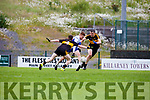 Colm Murphy Castleisland Desmonds bares down on goal tracked by David O'Leary and Mike Moloney Dr Crokes during their Div 1 clash in Killarney on Saturday evening