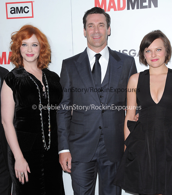 Christina Hendricks, Jon Hamm and Elisabeth Moss at The AMC Premiere of The 6th Season Of Mad Men held at The DGA in West Hollywood, California on March 20,2013                                                                   Copyright 2013 Hollywood Press Agency